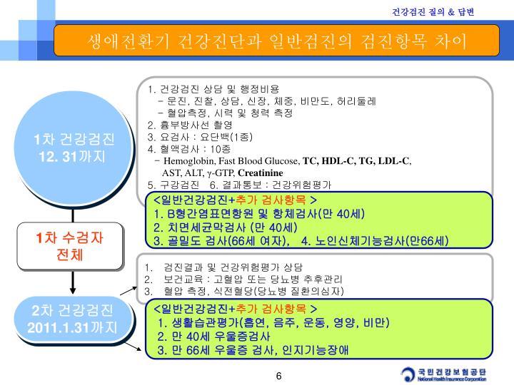 생애전환기 건강진단과 일반검진의 검진항목 차이