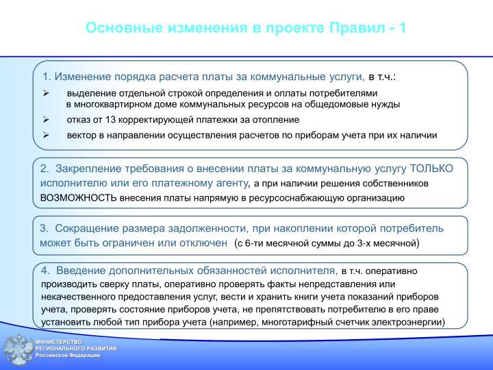 Основные изменения в проекте Правил - 1