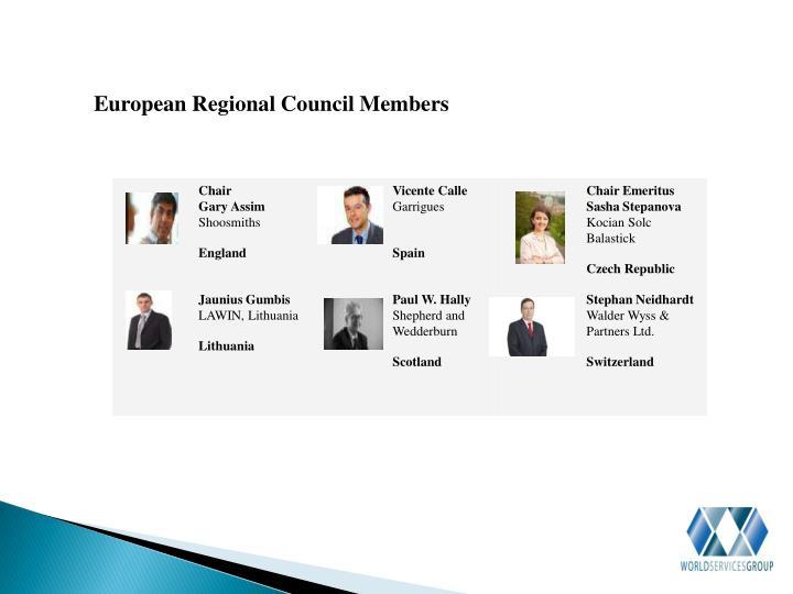 European Regional Council Members