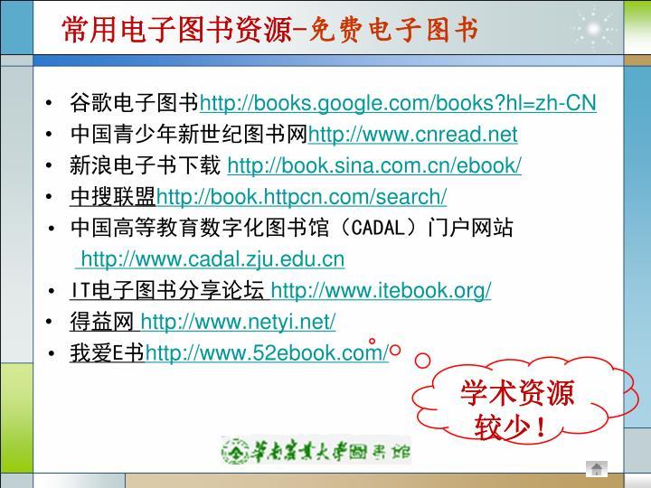 常用电子图书资源