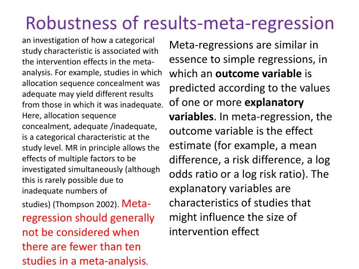 Robustness of results-meta-regression
