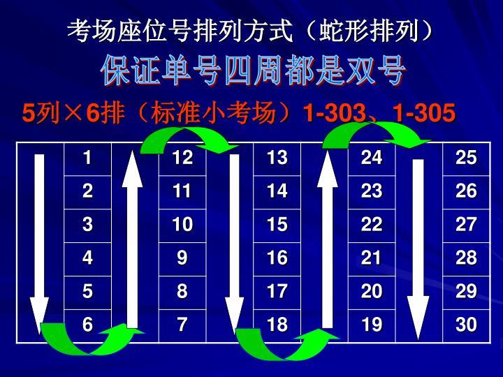考场座位号排列方式(蛇形排列)