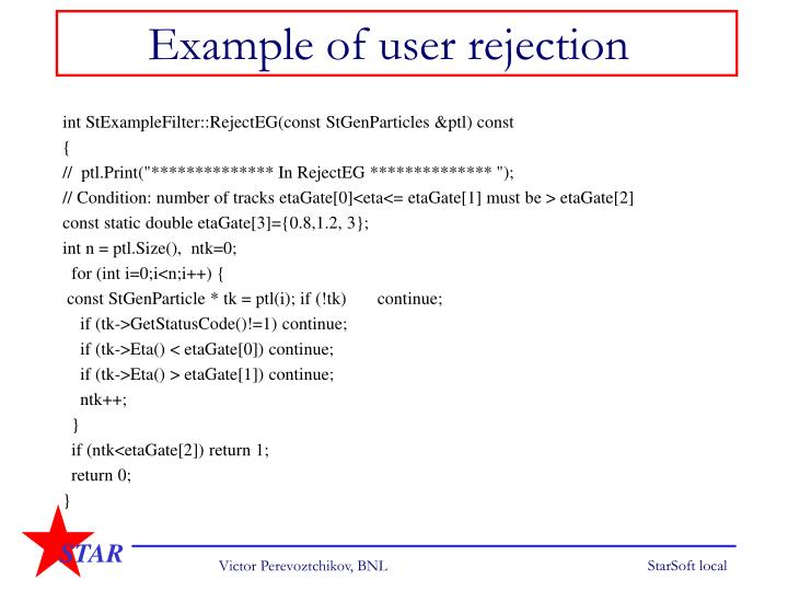 Example of user rejection