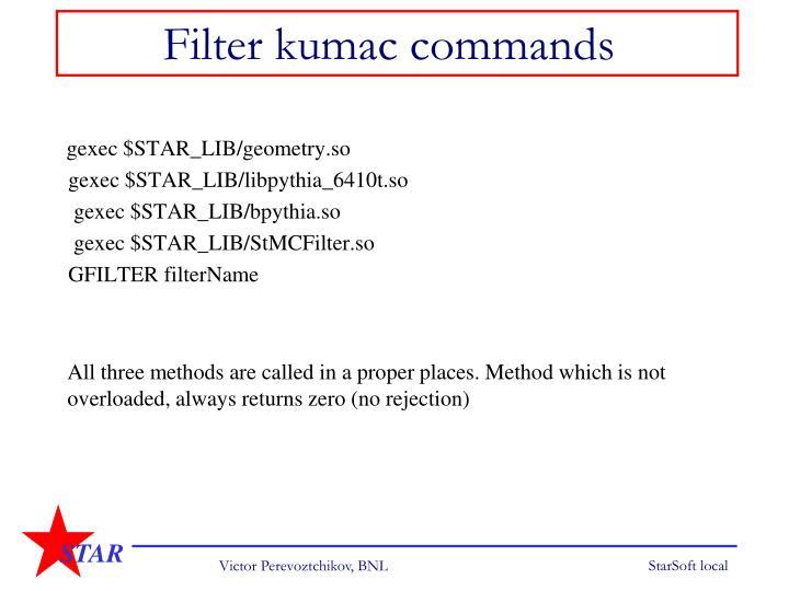 Filter kumac commands