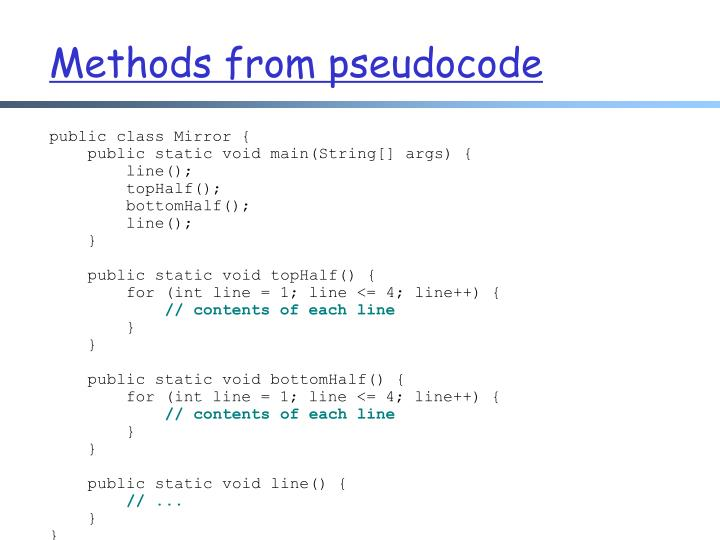 Methods from pseudocode