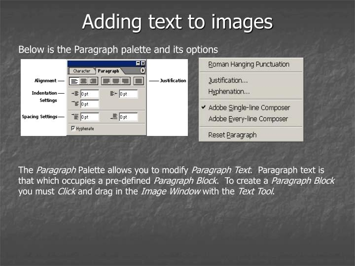 Adding text to images
