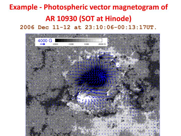 Example - Photospheric vector magnetogram of AR 10930 (SOT at Hinode)