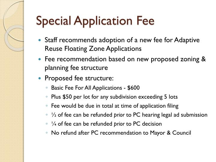 Special Application Fee