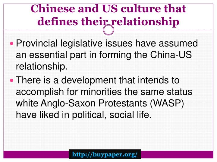 Chinese and US culture that defines their relationship