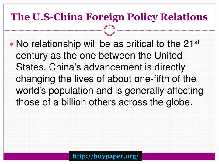 The u s china foreign policy relations