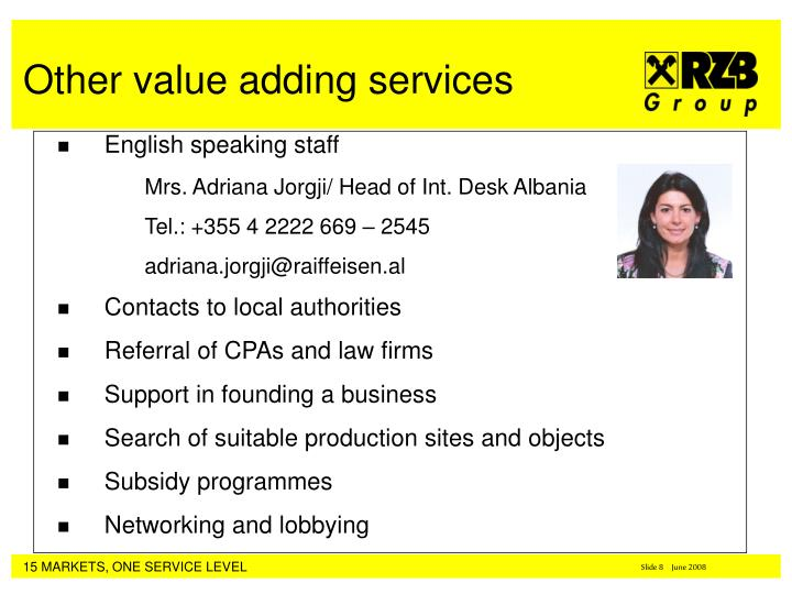 English speaking staff