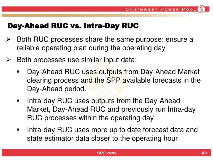 Day-Ahead RUC vs. Intra-Day RUC