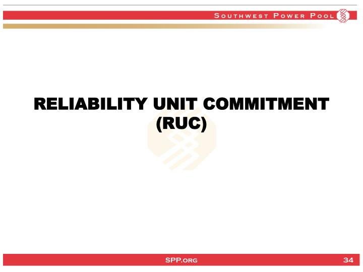 RELIABILITY UNIT COMMITMENT