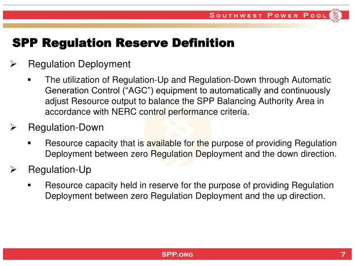 SPP Regulation Reserve Definition