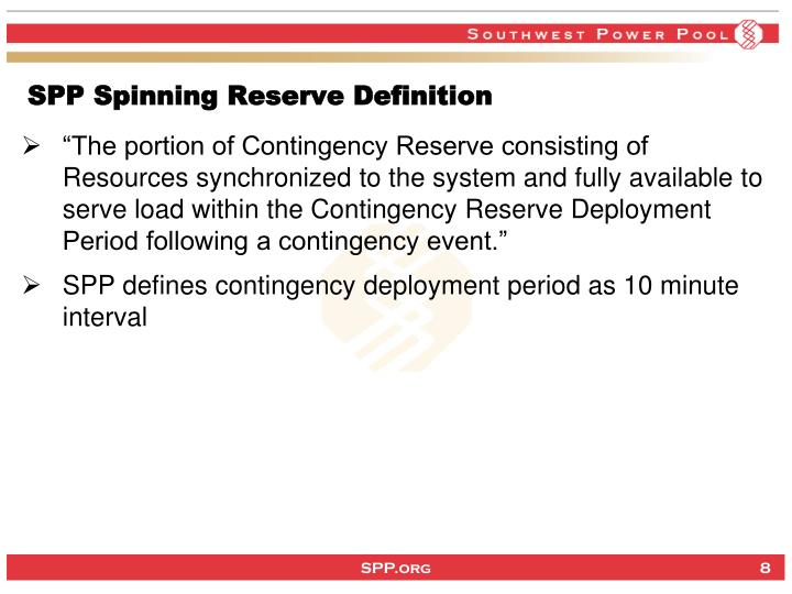 SPP Spinning Reserve Definition