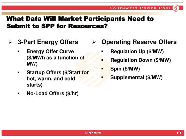 What Data Will Market Participants Need to Submit to SPP for Resources?