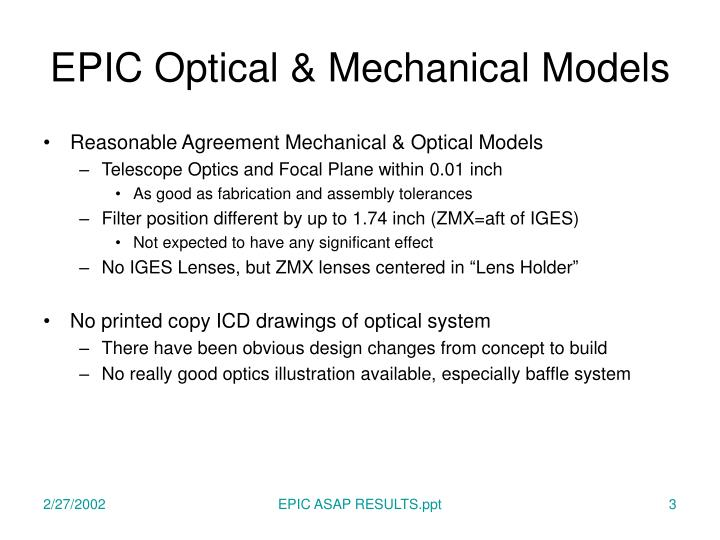 Epic optical mechanical models1