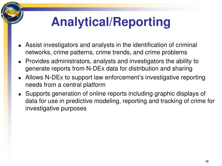 Analytical/Reporting