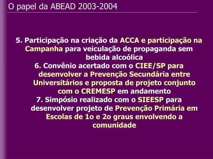 O papel da ABEAD 2003-2004