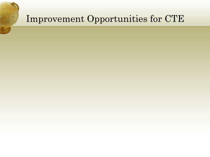 Improvement Opportunities for CTE