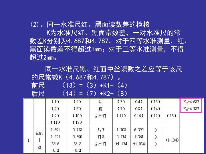 (2)、同一水准尺红、黑面读数差的检核