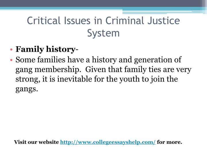 Critical Issues in Criminal Justice System
