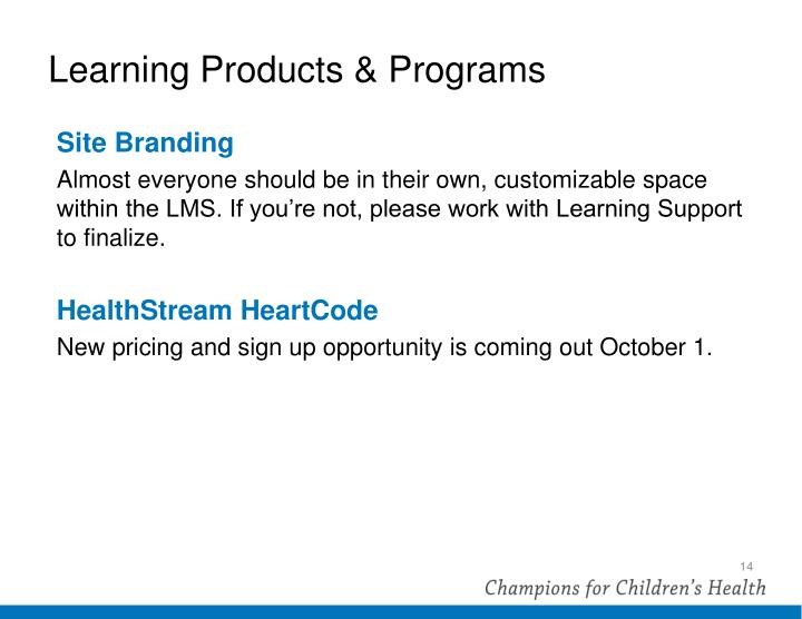 Learning Products & Programs
