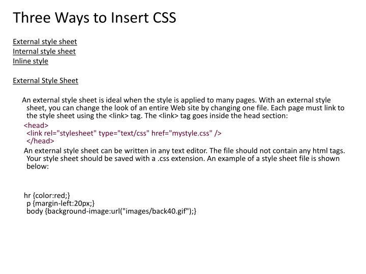 Three Ways to Insert CSS