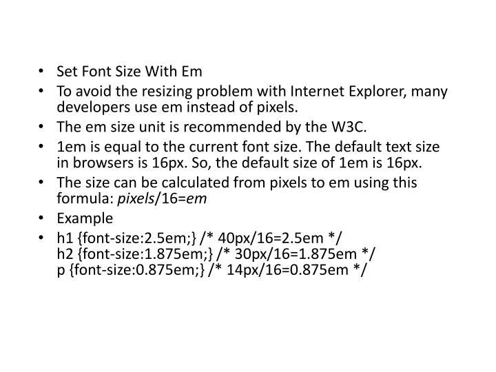 Set Font Size With Em