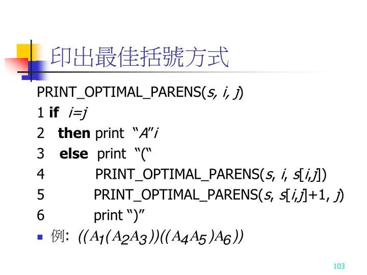 印出最佳括號方式