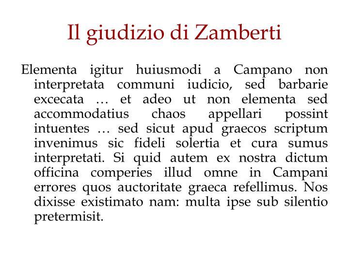 Il giudizio di Zamberti
