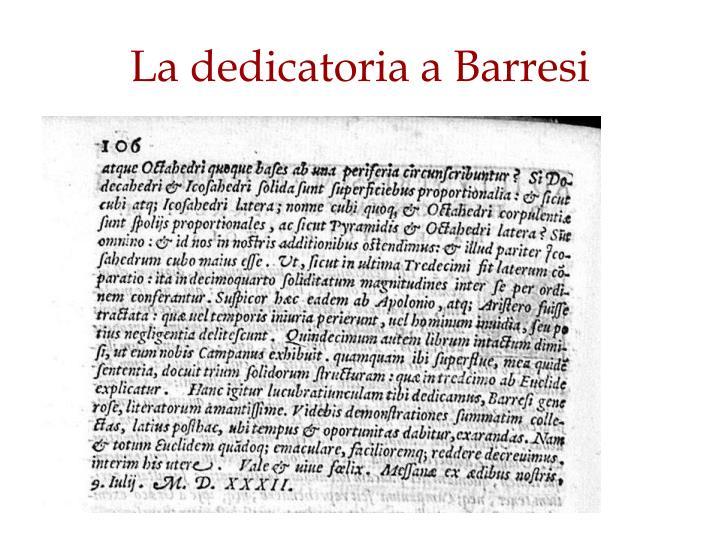 La dedicatoria a Barresi