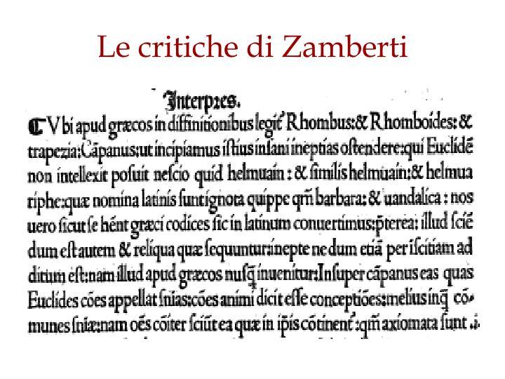 Le critiche di Zamberti