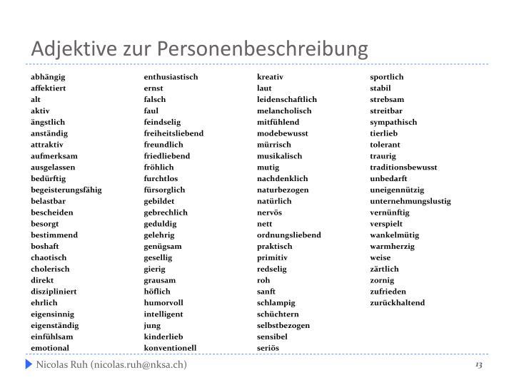 Adjektive zur Personenbeschreibung