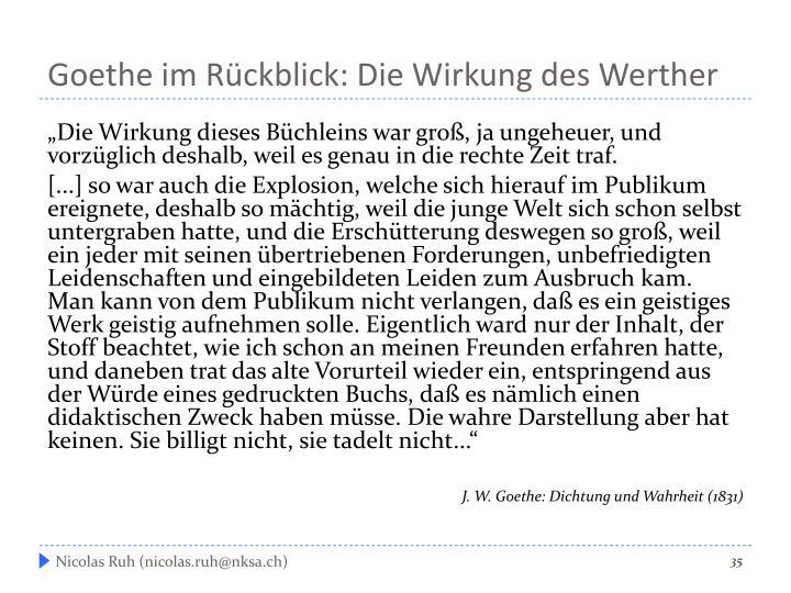 Goethe im Rückblick: Die Wirkung des Werther