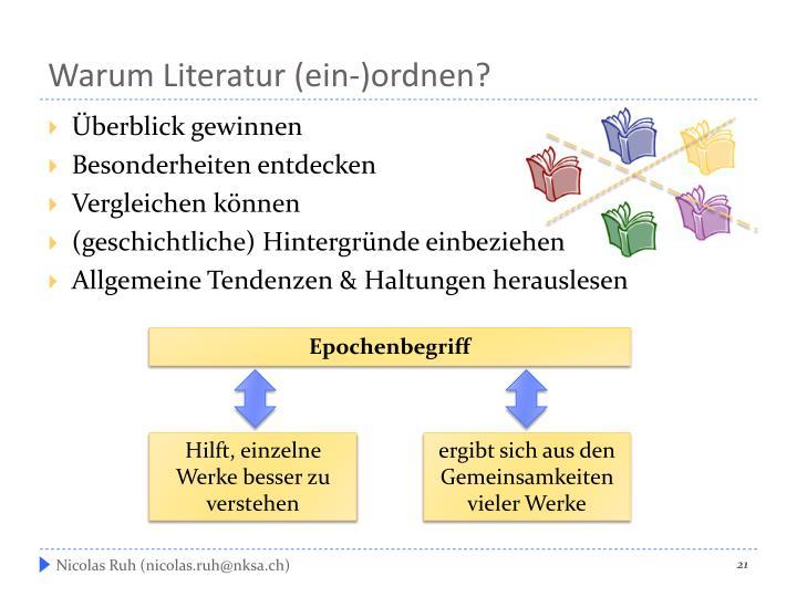 Warum Literatur (
