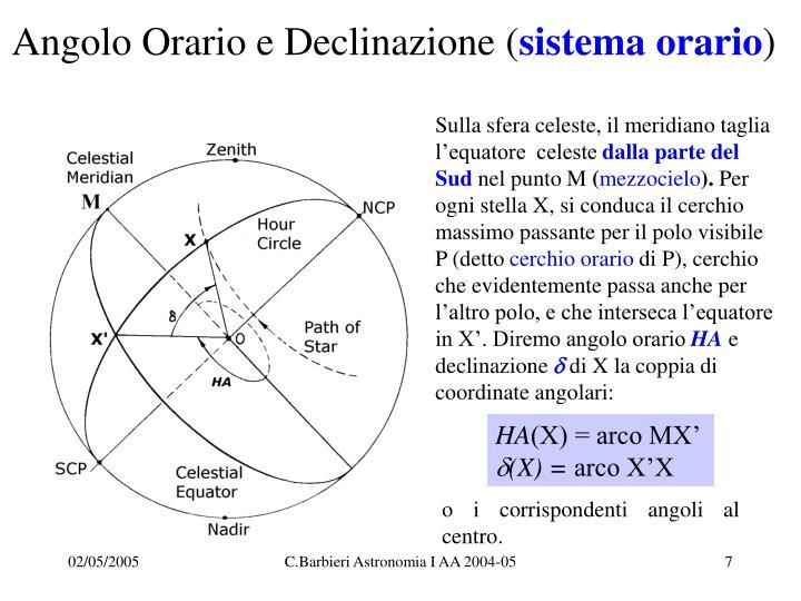 Angolo Orario e Declinazione (