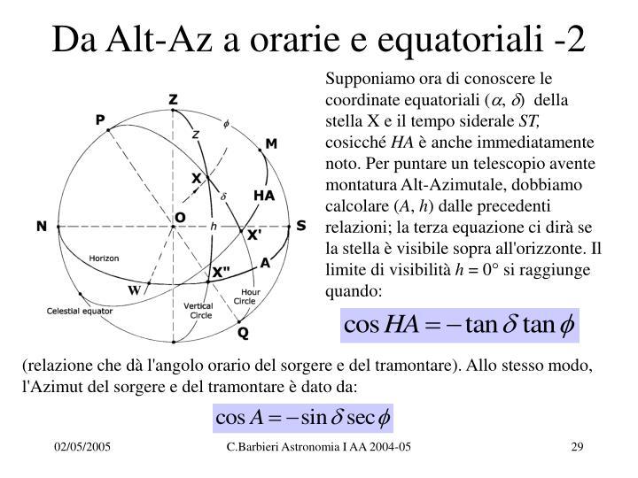 Da Alt-Az a orarie e equatoriali -2
