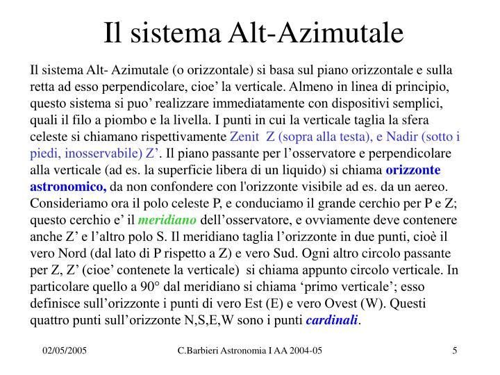Il sistema Alt-Azimutale