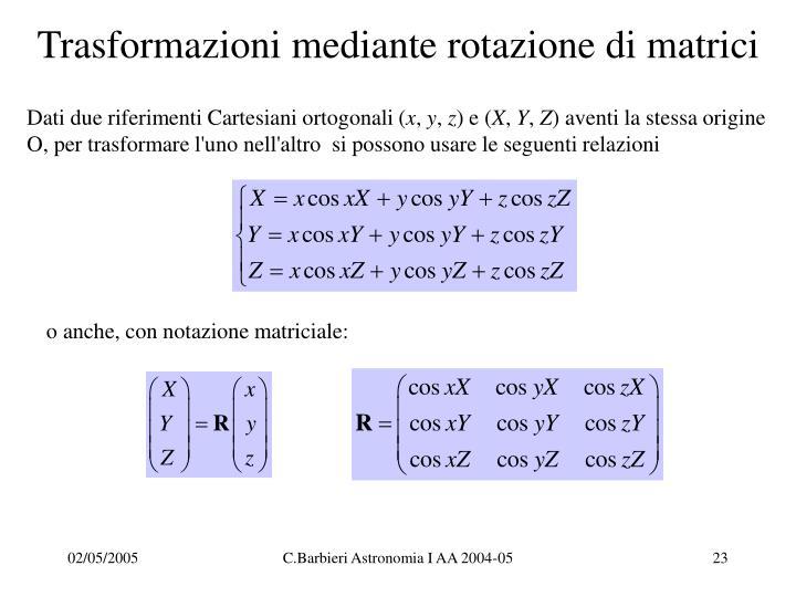 Trasformazioni mediante rotazione di matrici