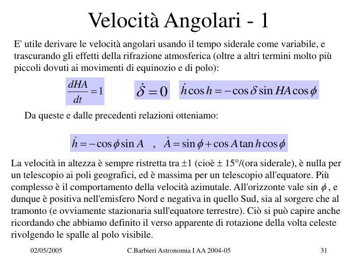 Velocità Angolari - 1