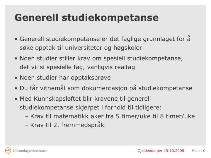 Generell studiekompetanse