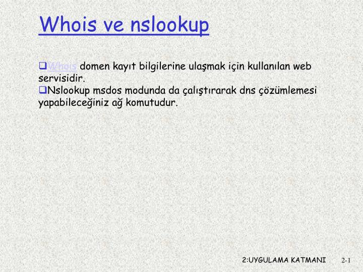Whois ve nslookup