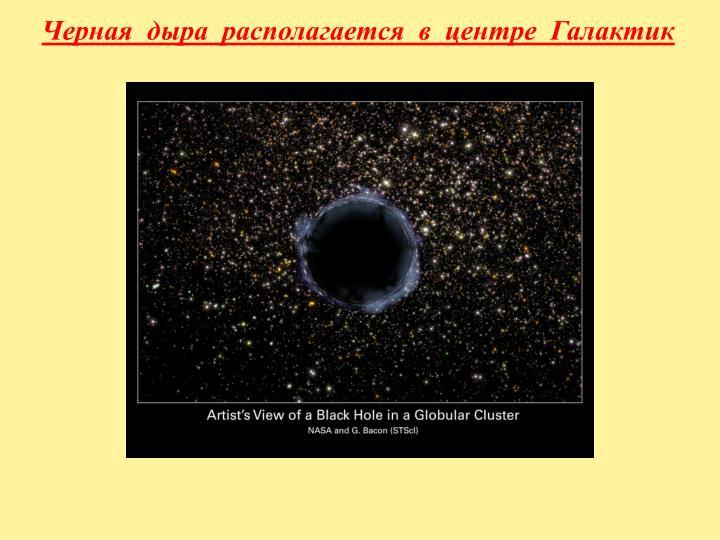 Черная  дыра  располагается  в  центре  Галактик
