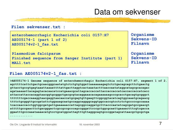 Data om sekvenser