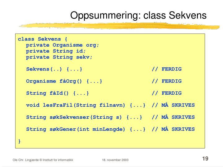 Oppsummering: class Sekvens