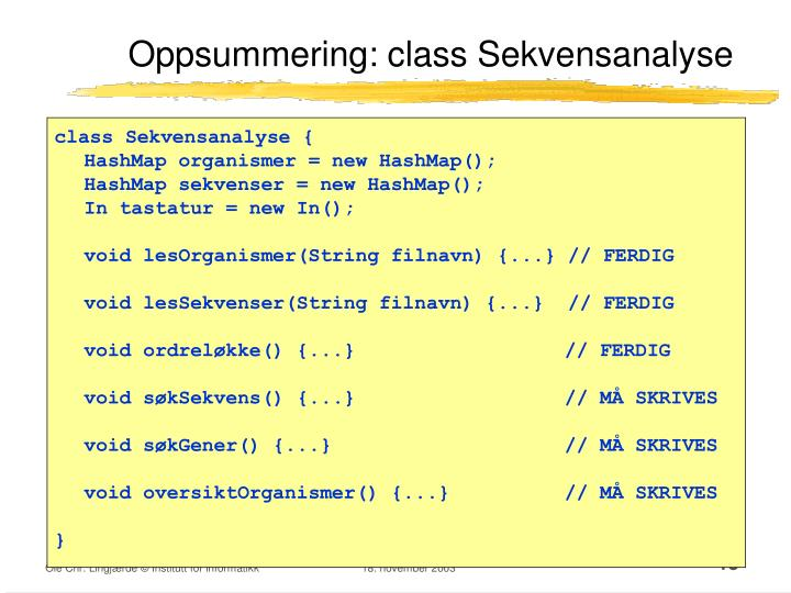 Oppsummering: class Sekvensanalyse