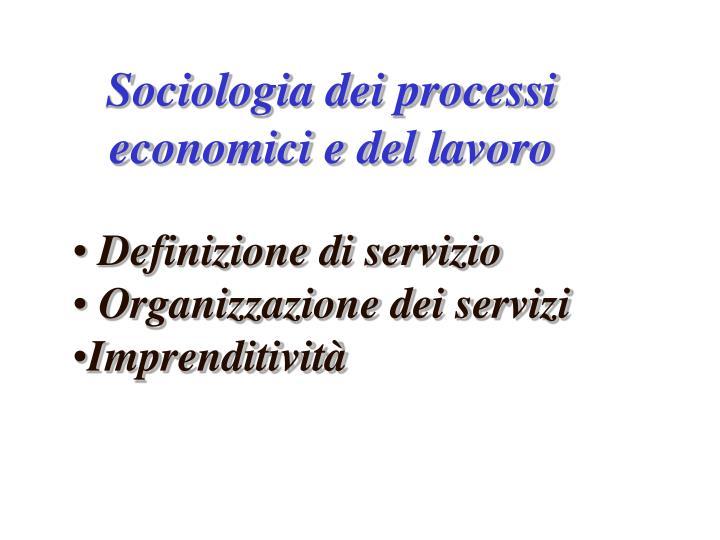 Sociologia dei processi economici e del lavoro