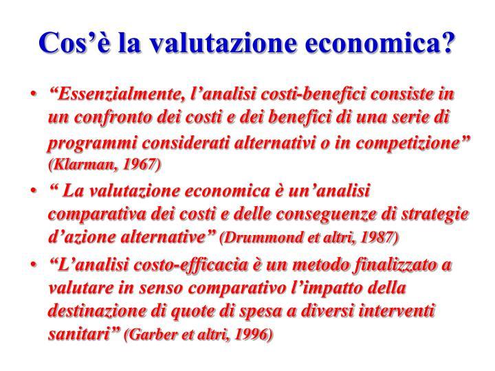 Cos'è la valutazione economica?
