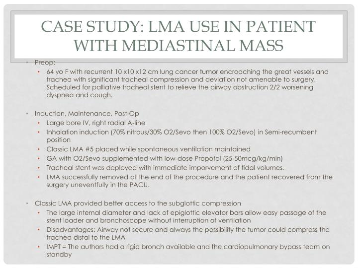 Case Study: LMA use in Patient with